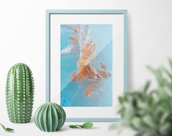 """Abstract Art Print Colorful Abstract Fine Art Print """"Gold Fish"""", Large Contemporary Art Print. Blue Orange Home Decor"""