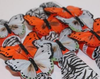Butterfly Orange/Grey Napkin Rings Set of 8