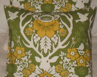 NEW Two Designer Throw Pillow Covers 16 x 16 Joel Dewberry Antler Damask