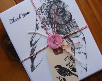 Set Of 8 Thank You Owl Postcards W/Envelopes, Drawing, Wildlife Illustration, Nature Art, Bird, Stationery, Paper Products, Pen N Ink, Cards