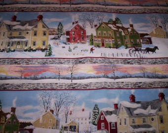 """1 yard x 44"""" striped After the Snow by Bob Fail for Wilmington Fabrics Saltbox snow scenic cotton fabric"""