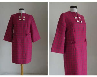 1960s Gingham dress/ vintage 1960s wool dress/ 60s wool dress