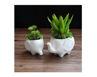 Elephant Decor, Elephant Planters, Succulent Pots, Elephant Gift, White Ceramic, Mini Planters, Apartment Decor, Desktop Planters, Set of 2