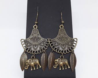 Earrings bronze connector chandelier and elephant