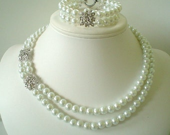 Bridal Rhinestone Pendant with White Pearls Beaded Necklace Bracelet and Earring Set