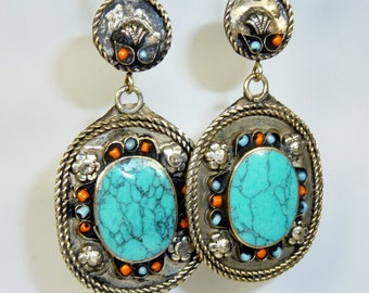 Tribal Earrings with turquoise Stones, Vintage, Vintage Hippie Earrings