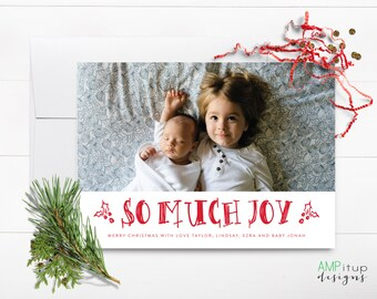 So Much Joy Christmas Card - Hand Drawn Christmas Card - Custom Photo Christmas Card - Family Photo Card - Printable Christmas Card - Baby