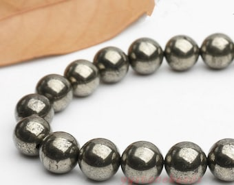 Big size beads / Pyrite round loose gemstone beads strand 16'' 12mm 14mm 16mm 18mm 20mm  natural stone