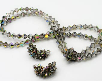 Smoky Gray Aurora Borealis Necklace and Earrings Set/Multi Strand Necklace
