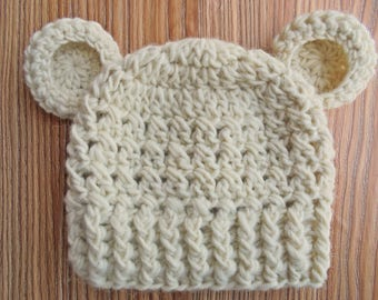 Baby bear hat Wool baby hat Cream baby bear hat Baby boy hat Newborn bear hat Baby hat with ears Crochet baby hat Newborn boy outfit