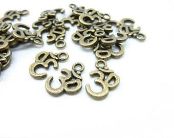 50ps-OM Charms ,Antique Bronze Tone Yoga Ohm Aum Symbol charm Pendants 10x16mm C6029