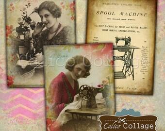 Sewing Ephemera Printable Digital Collage Sheet 2.5x3.5 Hang Tags, Gift Tags, Journaling Spots, Decoupage Paper, Vintage Sewing, Seamstress
