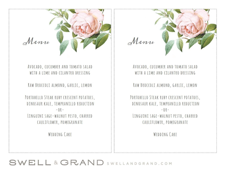 Printable Wedding Menu Template INSTANT DOWNLOAD Vintage