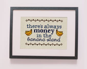 Bluth's Frozen Banana counted cross stitch