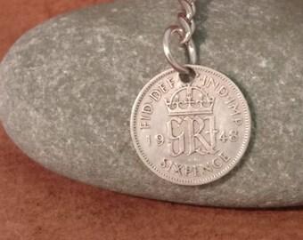1948 King George VI British Sixpence Coin Keyring, English Coin Keychain. British Coin Key Ring, Lucky Sixpence