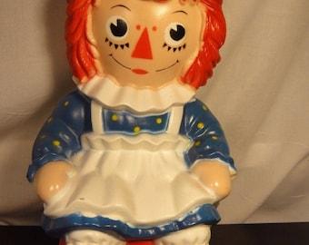 "Vintage 1972 RAGGEDY ANN Coin Bank 11"" Bobbs Merrill My Toy Co Doll"