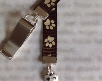Dog Bookmark / Paw Print Bookmark / Dog Lover Bookmark - Clip to book cover then mark the page with the ribbon. Never lose your bookmark!