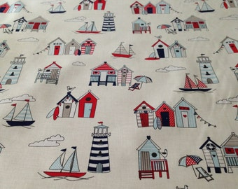 Happy Days Beach Hut Nautical Blue Craft/Furnishing Fabric Sold By The Metre