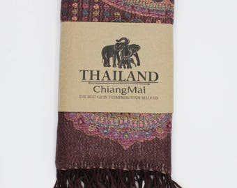 Pashmina Scarf - Shawl - Pure Cashmere 100% Soft & Light - Dark Brown - Oversized, Lightweight, Soft – Hand Made in Thailand