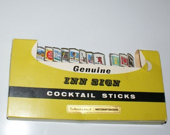 Vintage Cocktail Sticks - Genuine Inn Sign Cocktail Sticks  Mid Century  - Northamptonshire