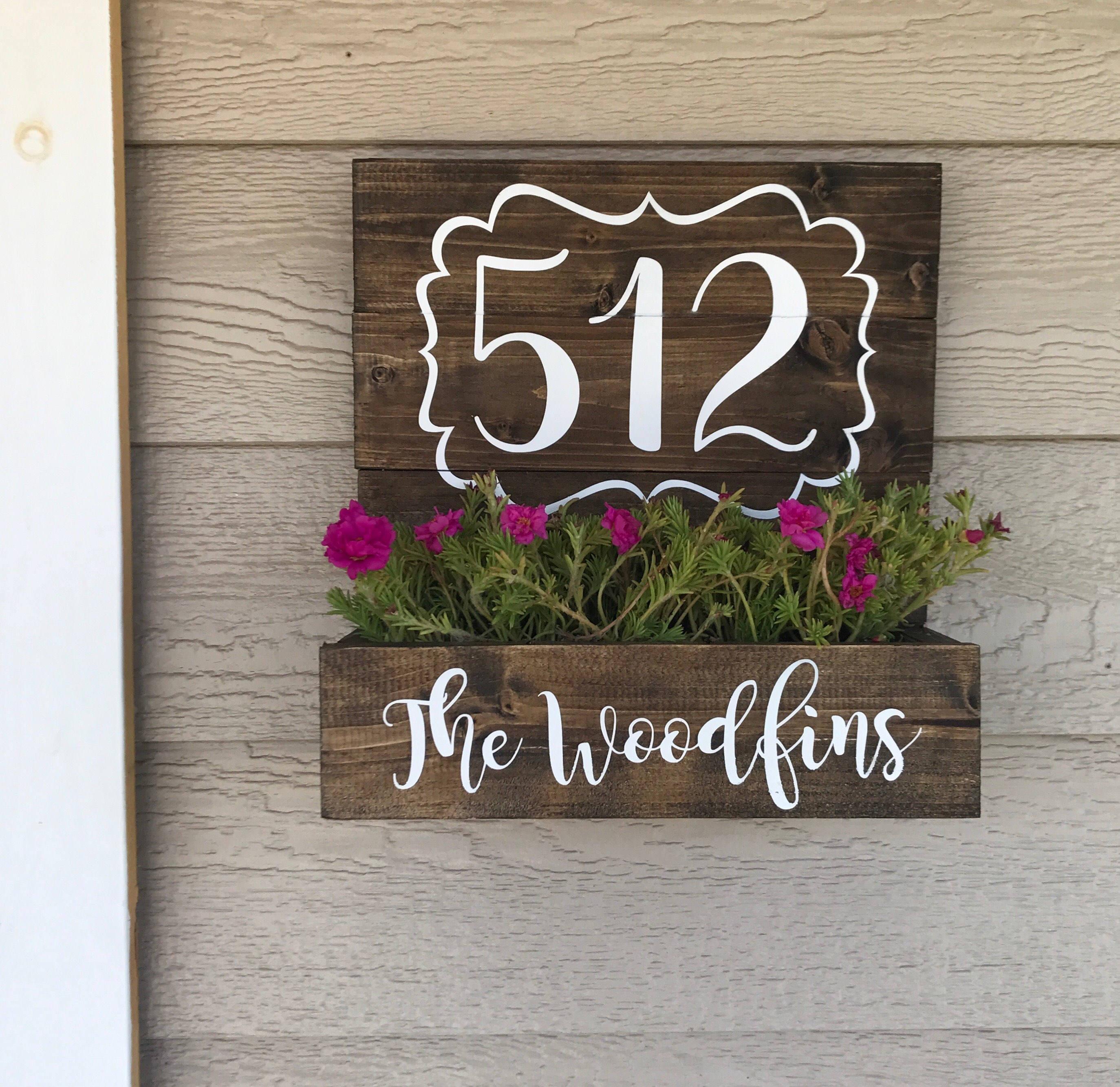 House Number Planter Wooden Address Planter Box