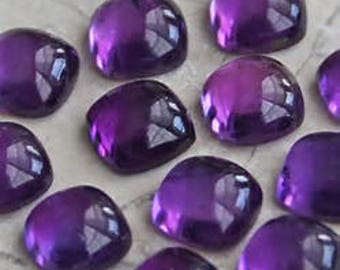 10 pic.natural purple Amethyst cushion shape cabochon calibrated size