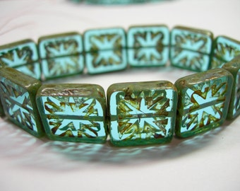 12 14mm Square Aqua Etched Picasso Czech Glass Beads