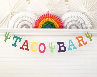Taco Bar Banner - 5 inch Letters - Fiesta Birthday Banner Cinco De Mayo Taco Bar Sign Colorful Fiesta Party Decorations Taco Party Garland