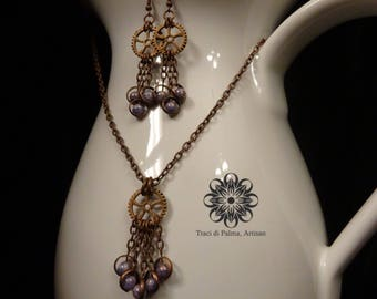 Steampunk Rings Necklace and Earrings