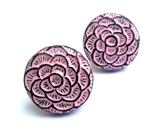 Pink Flower Stud Earrings - Sterling Silver Posts - Pastel Pink and Brown - Spring flower jewelry