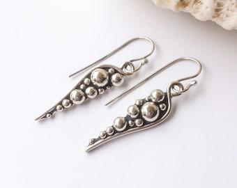 Sterling Silver Earrings, Weekend Casual Handcrafted Pebble Design Dangle Earrings, Boho Chic Artisan Silversmith Long Statement Earrings