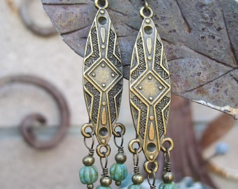 Tribal Chandelier Boho Earrings with Picasso Melon Beaded Dangles