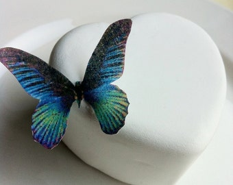 Wedding Cake Topper Edible Butterflies for Wedding Cupcakes - Edible Butterfly Wedding Cake Decoration  - Small Blue Green