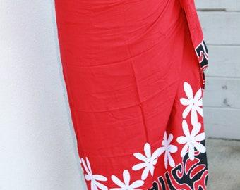 Red, black and white tattoo tiare premium Tahitian pareo, tahitian costume, hula, polynesian dance