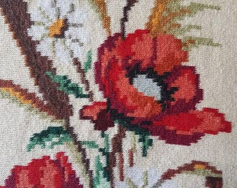 High quality hand needlepoint embroidery Poppies and wheat