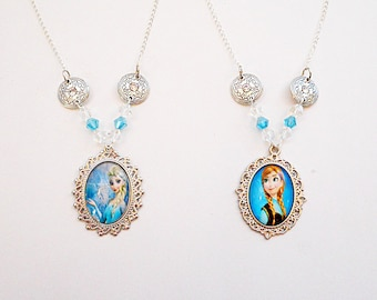 Elsa and Anna Sister Set of 2 Necklaces Jewelry Set