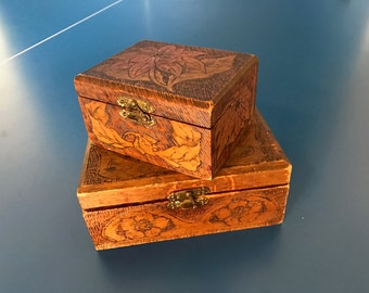 Two Vintage Burned Wood Box