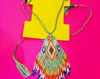 Aztec Beaded Fringe Bib Necklace, 2 Colors