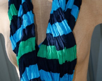 Aqua Black and Green Striped Infinity Scarf 72 inches circumference by 13 1/2 inches Fashion Accessory