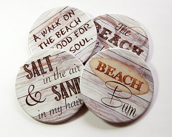 Drink Coasters, Beach House Decor, Coasters, Hostess Gift, Tableware, Barware, Cottage Chic, Beach Coasters, Beach Bum, Salt and Sand (5098)