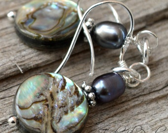 Paua Earrings | Paua Shell Jewelry | Abalone Earrings & Freshwater Pearl Earrings | Black Pearl Jewelry in Sterling Silver 1 3/4 inches
