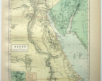 Egypt - Original 1876 Map by A & C Black. Antique