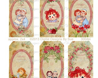 Raggedy Ann and Andy Hang Tags-  Instant Download  - Printable  Digital Collage Sheet