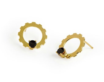 Circle Modern Earrings, Gold And Black Earrings, Minimalist Gold Stud Earrings, Minimal Earrings, Round Earrings, Modern Jewelry