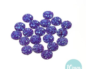 10mm Iridescent Purple Faux Druzy Crystal Clusters Cabochons sfc0108