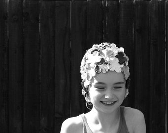 Black and White Photography - Swimming Cap Girl Fine Art Print - Portrait of a Child - Happy Childhood - Smiling Swimmer
