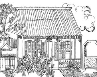 The Old Homestead Coloring Page, Adult Coloring Printable, Coloring Pages for Adults, Cayman Life + Art, Print PDF Download
