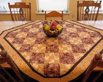 Handcrafted Cozy Country Cottage Nine Patch Patchwork Quilted tablecloth lap quilt browns and creams