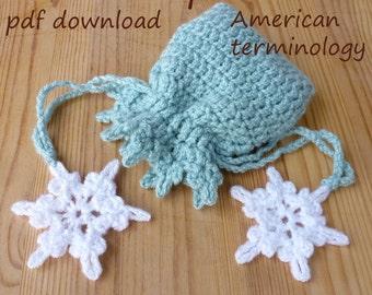 reusable gift pouch/crochet pattern pdf/gift packaging/drawstring pouch/frozen crochet/favor bag/diy christmas/money gift bag/US terminology