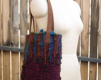 By Hand Bag/ Handwoven Handbag/ Handspun Handbag/ Art Yarn Purse/ Shoulder Bag/ Handbag/ Purse/ Handmade Bag/ Handmade Bag/ Boho Bag